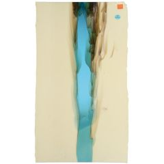 French Vanilla Opalescent with Light Turquoise Blue Transparent 2-Color Mix, Cascade, Double-rolled, 3 mm, Fusible, 17x20 in., Half Sheet