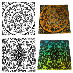 Reusable Henna 2-Pack Simple-Etch Screens for Dichroic Glass Etching