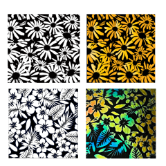 Reusable Summer Flowers 2 Pack Simple-Etch Screens for Dichroic Glass Etching