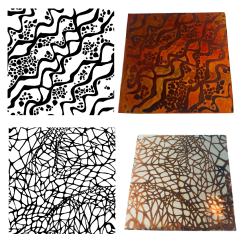 Reusable Tangled 2-Pack Simple-Etch Screens for Dichroic Glass Etching