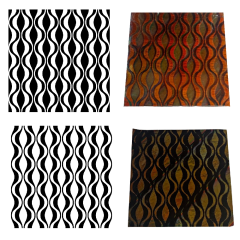 Reusable Modern Waves 2-Pack Simple-Etch Screens for Dichroic Glass Etching