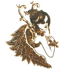*Discontinued Item* Fairy Princess Silver Metallic & Black Fusible Enamel Decal