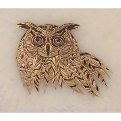 Owl Silver Metallic & Black Fusible Enamel Decal