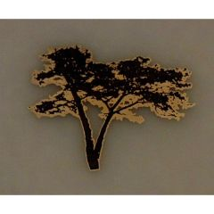 Black Acacia Tree Silver Metallic & Black Fusible Enamel Decal