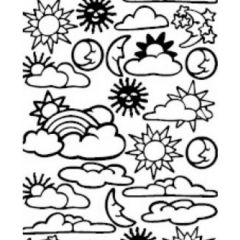 Suns, Moons, Clouds, and Rainbows Etching & Sandblasting Sticker Sheet