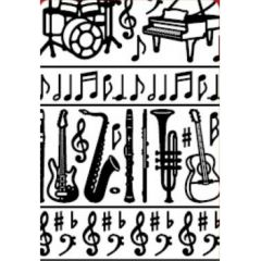 Musical Notes and Instruments Etching & Sandblasting Sticker Sheet