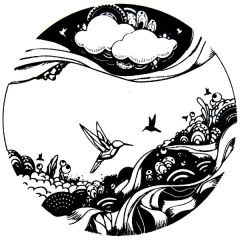 Artsy Hummingbirds Fusible Glass Decal