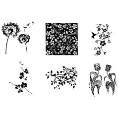Floral Silhouettes Fusible Decal Sheet