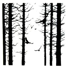 Birds In Forest Enamel Fusible Decal