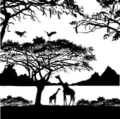 Giraffes In The Jungle Enamel Fusible Decal