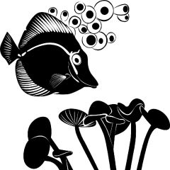 Diving Fish Enamel Fusible Decal