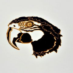 *Discontinued Item* Parrot Head Gold Metallic & Black Fusing Enamel Decal