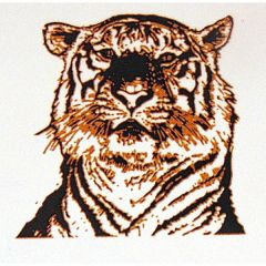 Tiger Head Gold Metallic & Black Fusing Enamel Decal