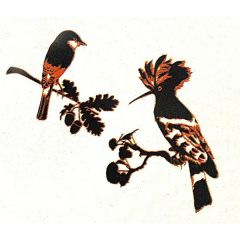 *Discontinued Item* The Birds Gold Metallic & Black Fusing Enamel Decal