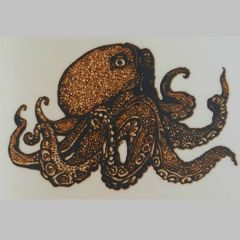*Discontinued Item* Octopus Gold Metallic & Black Fusing Enamel Decal