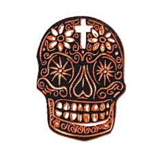 Day of the Dead Skull Gold Metallic & Black Fusing Enamel Decal