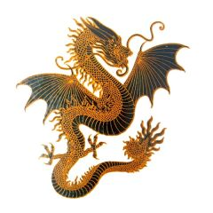 Dragon Large Gold Metallic & Black Fusing Enamel Decal