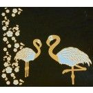 *Discontinued Item* Flamingo Twins Gold Metallic & White Fusing Enamel Decal