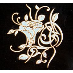 Art Deco Gold Metallic & White Fusing Enamel Decal