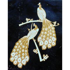 *Discontinued Item* Large Twin Peacocks Gold Metallic & White Fusing Enamel Decal
