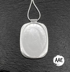 Large Silver Plated Oval Blank Pendant Base, 30x40mm Blank Bezel Pendant Tray for Cabochon Setting, Fused Glass, Jewelry Making DIY Finding