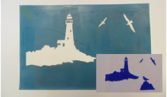 Simple Screen™  Pre-burned Lighthouse Scene Design for Screen Printing & Powder Printing