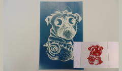 Simple Screen™  Pre-burned Layla the Pug Sketch Design for Screen Printing & Powder Printing