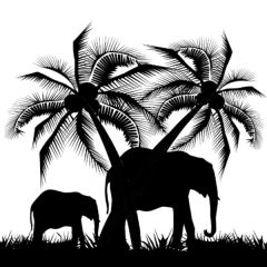 Simple Screen™  Pre-burned Elephant Family Design for Screen Printing & Powder Printing
