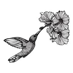 Simple Screen™  Pre-burned Hummingbird & Hibiscus Design for  Screen Printing & Powder Printing