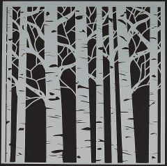 Powder or Airbrush Stencil-Birch Trees