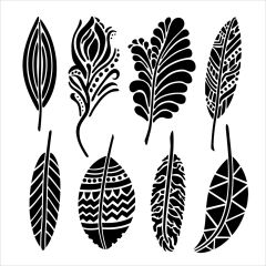 Powder or Airbrush Stencil- Fancy Feathers 6x6