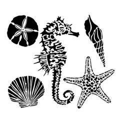 Powder or Airbrush Stencil- Sea Creatures 6x6