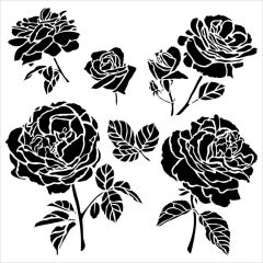 Powder or Airbrush Stencil-Cabbage Roses 6x6