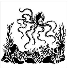 Powder or Airbrush Stencil- Octopus 6x6