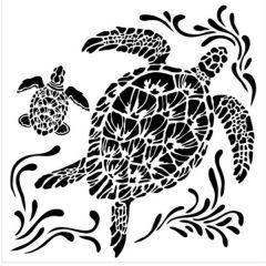 Powder or Airbrush Stencil- Sea Turtles 6x6