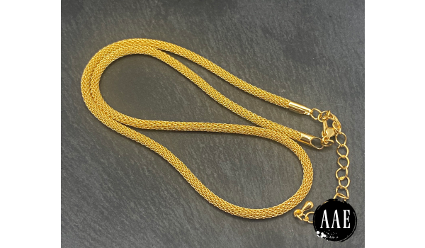 "16""-18"" Gold Plated Metal Mesh Chain 3mm"