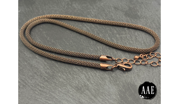 Metal Mesh Chain Necklace, Round, Antiqued Copper Plated, Approx. 3 mm
