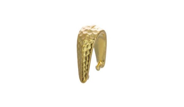 Jewelry Pinch Bails Hammered Bright Gold Plated