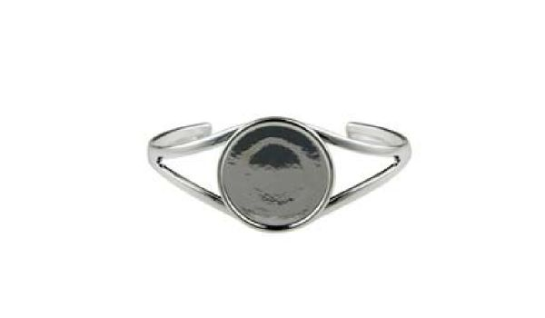 Silver Plated Cuff Bracelet with 25mm Round Cabochon Setting, Blank Cabochon Bezel Mounting, Adjustable Bracelet Base, DIY Jewelry Finding