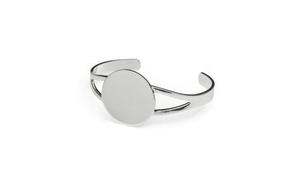 Silver Plated Cuff Bracelet with Flat Pad Cabochon Setting, Blank Cabochon Bezel Mounting, Adjustable Bracelet Base, DIY Jewelry Finding