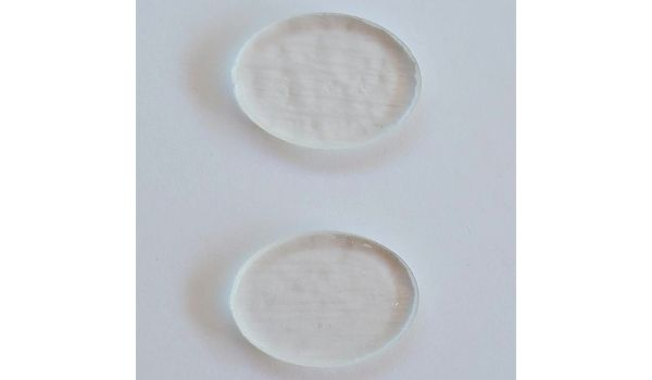 Pre Cut Clear Glass Oval Jewelry Base • 90 COE • Set of Two • 25mm x 18mm