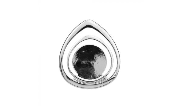 Silver Teardrop Pendant Base, 20mm Blank Bezel Pendant Tray for Cabochon Setting, Fused Glass, Jewelry Making DIY Finding