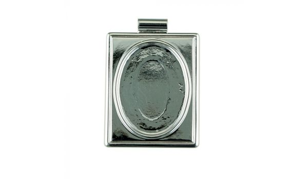 Silver Frame Square Pendant Base, 25x18mm Blank Bezel Pendant Tray for Cabochon Setting, Fused Glass, Jewelry Making DIY Finding