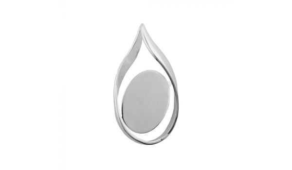 Silver Plated Twist Pendant Base, 18x25mm Blank Bezel Pendant Tray for Cabochon Setting, Fused Glass, Jewelry Making DIY Finding