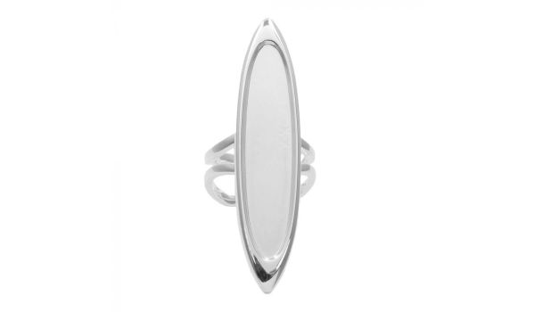 Long Oval Sterling Silver Plated Ring Adjustable