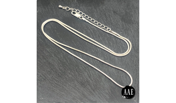 """Silver Plated Snake Necklace Chain 20""""- 22"""" w/ extender"""